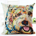 Square Cotton Linen One Side colorful Painted 3D dog Cushion Cover