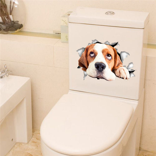 3D Dogs Toilet Sticker