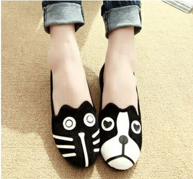 Women's Cool Dog and Cat shape cute Flate Shoes