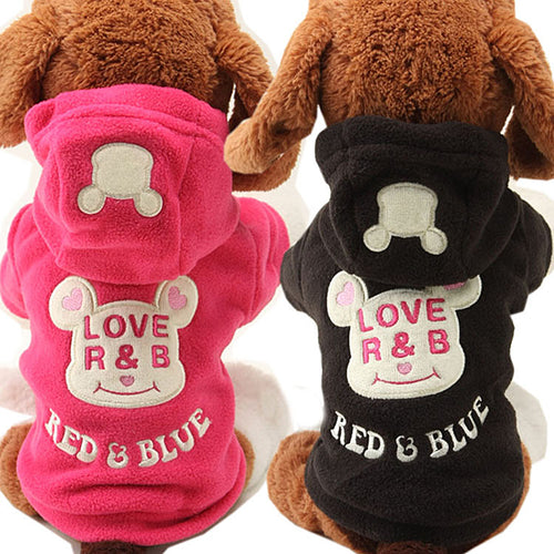 Warm Bear Embroidery Fleece Dog Hoodie