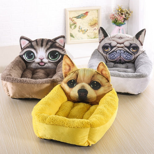 3D Dog Warm Soft Plush+PP cotton Bed