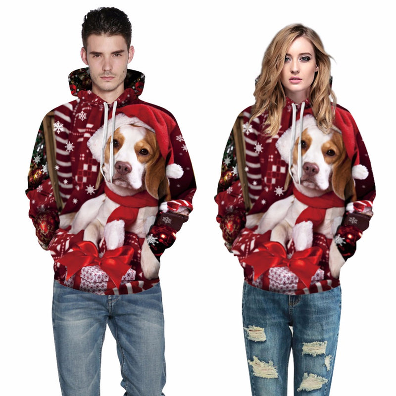 Unisex 3D dog printed Christmas Hoodies
