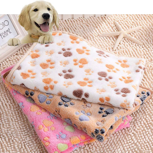 76*52cm(29.9*20.5inch) Double-sided Fleece Warm Paw Print Dog Blanket