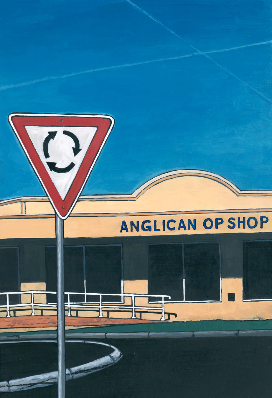 Josh Galletly Artwork. Painting of the Anglican Op Shop in Ballina, NSW Australia