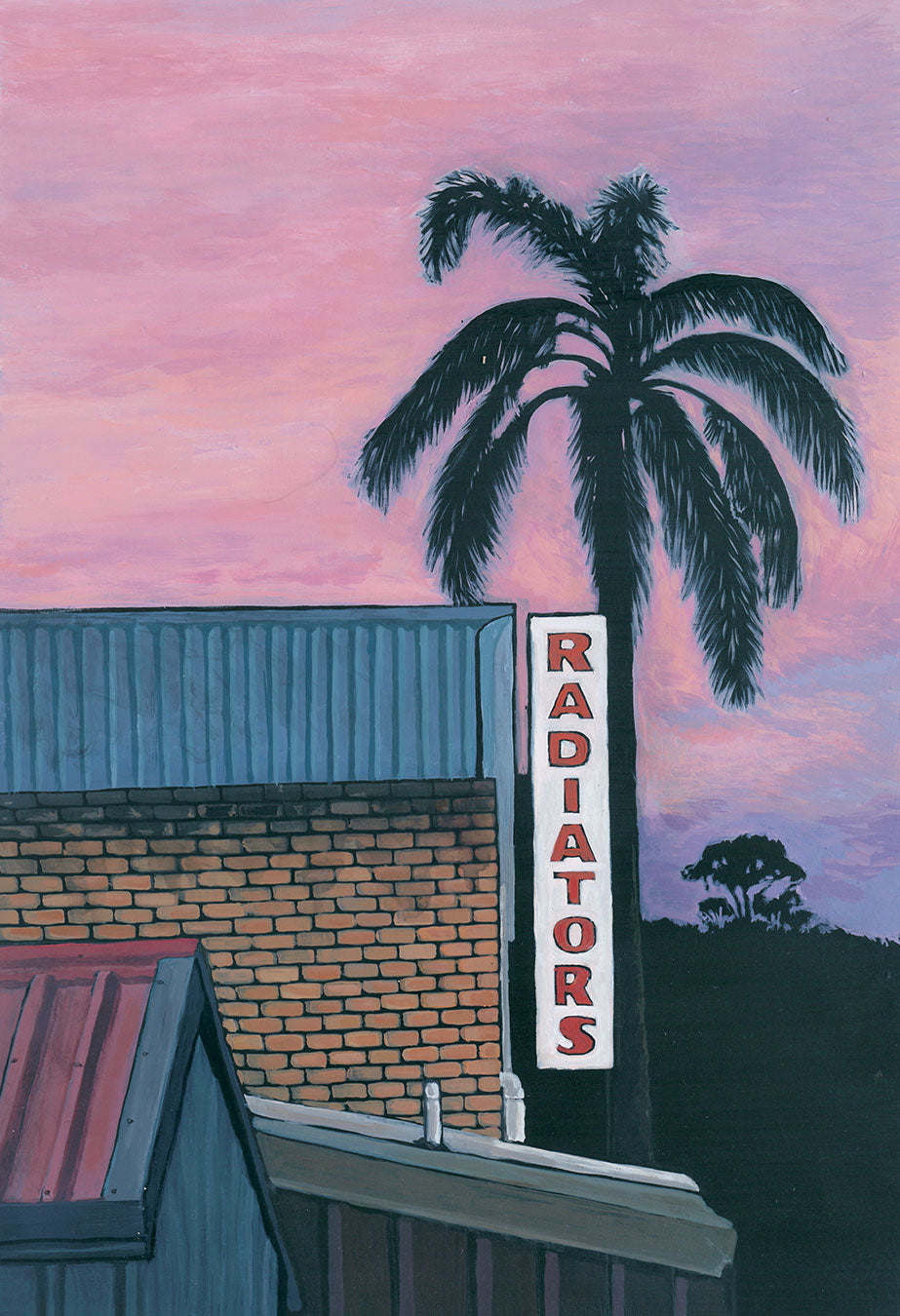Josh Galletly Art. Painitng of a palm tree and tin roofs at dusk in Lismore, NSW. Acrylic on Plywood 285 x 417mm