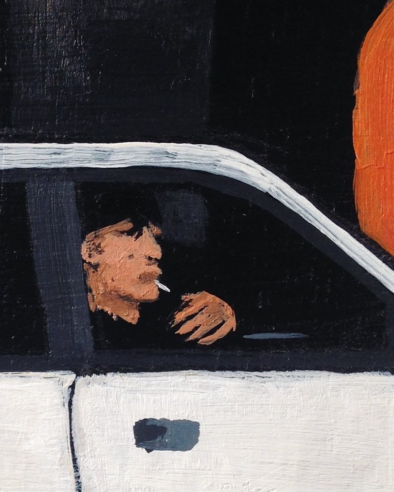 Josh Galletly Art. Crop from a painitng of a bloke smoking a ciggarette in his car after he's just washed it at Carlovers in Lismore. Acrylic on Plywood 285 x 417mm