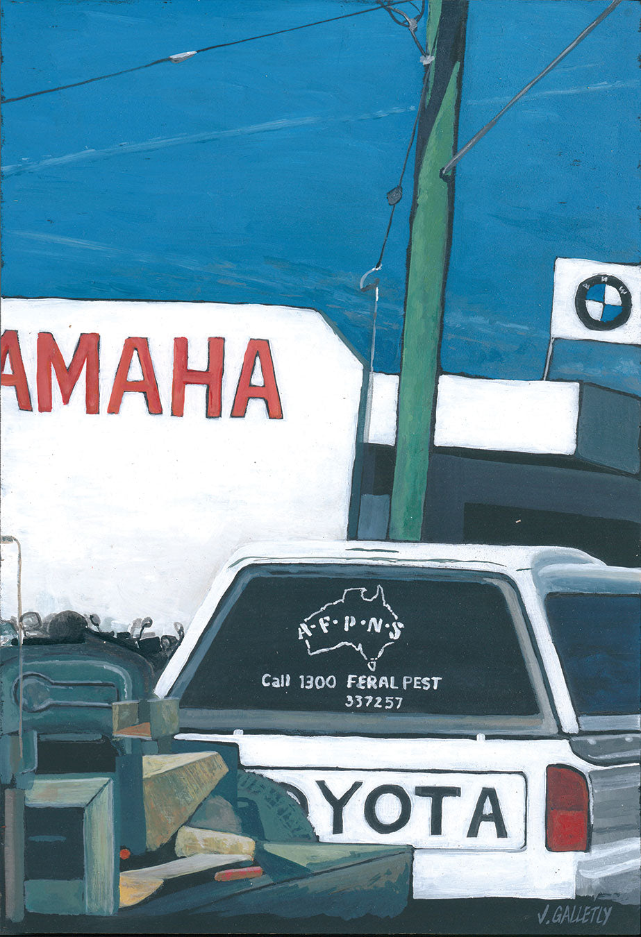 Josh Galletly Artwork. Painitng of an Australia Feral Pest Management Services Toyata Hilux driving past a Yamaha and BMW garage in Ballina, NSW. Acrylic on Plywood 285 x 417mm