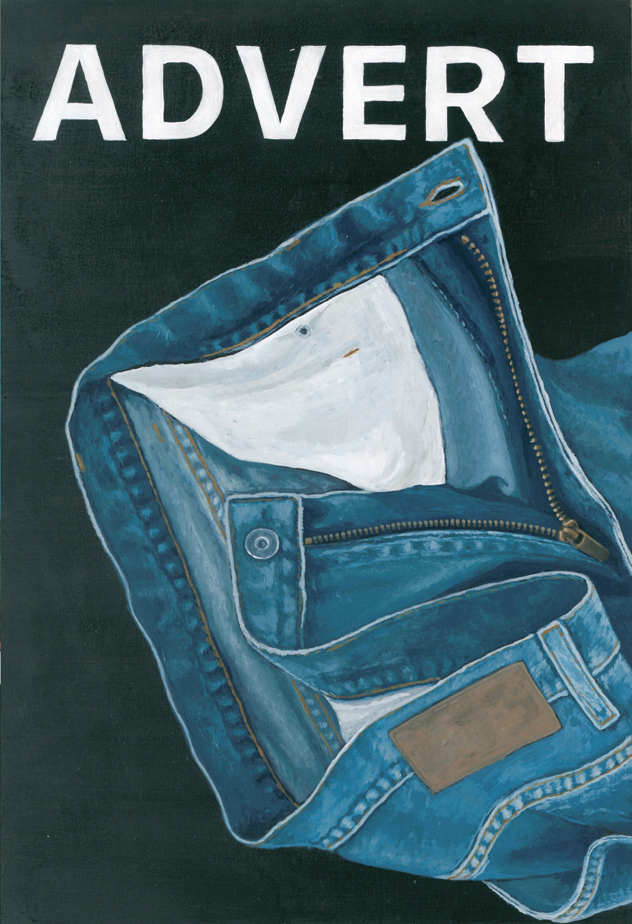 Josh Galletly Art. Painitng of an advert for a pair of unbranded denim jeans. Acrylic on Plywood 285 x 417mm
