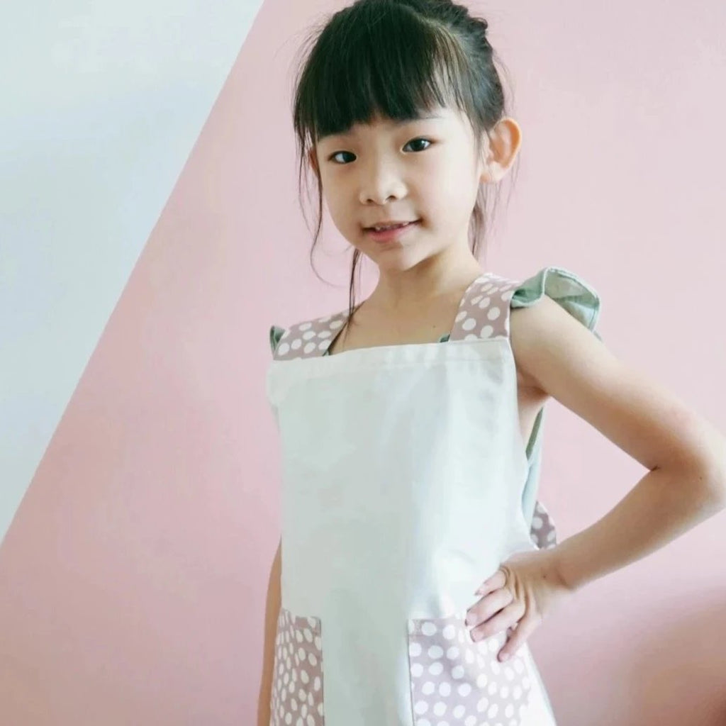 Japanese Cross Kids Aprons - Pink Dot