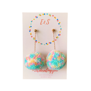 E&S Pom Pom Earrings - Pastel Pop