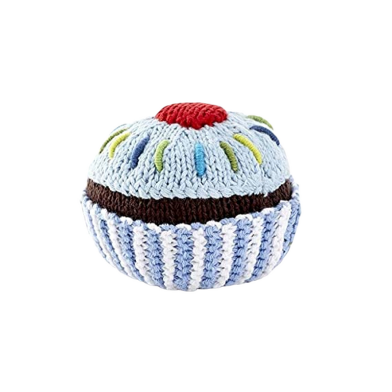 Cupcake Rattle - Pale Blue icing with Red Cherry