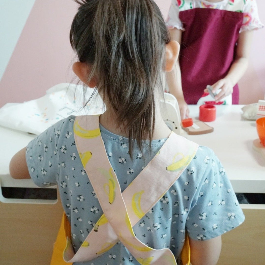 Japanese Cross Kids Aprons - Yellow Banana