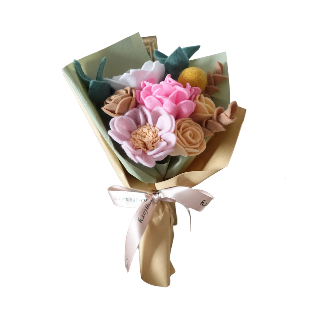 Peachy Blooms Felt Bouquet