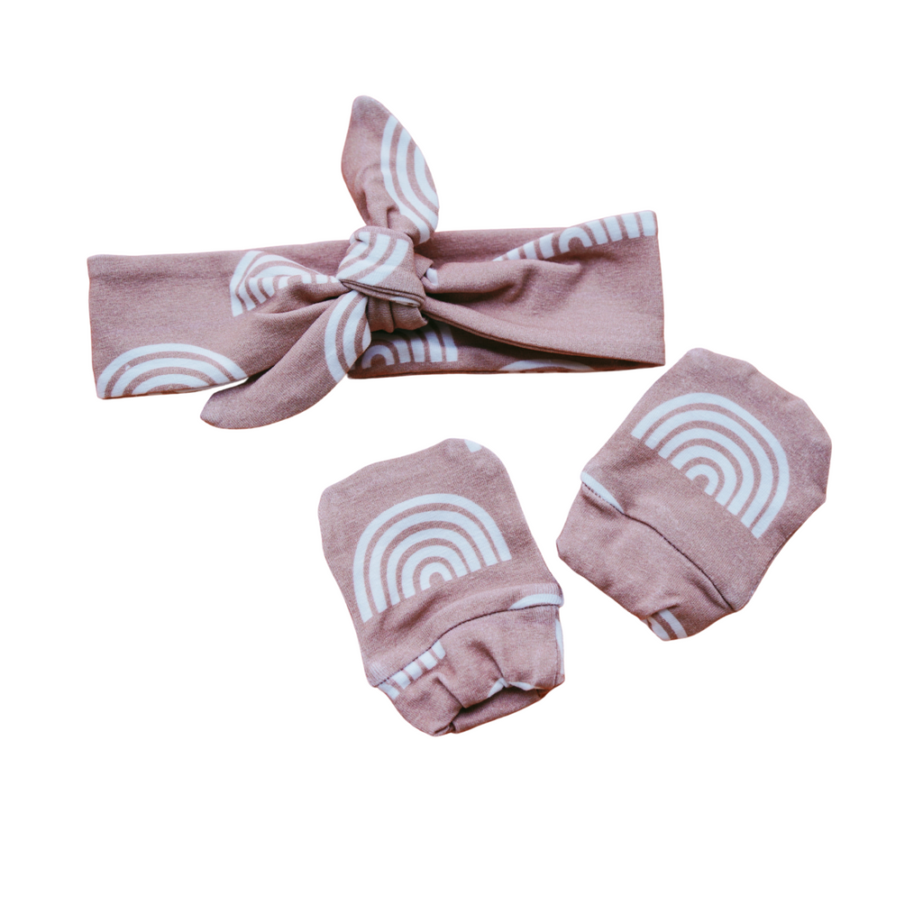 Organic Cotton Mitten & Headband Set - Camel Rainbow