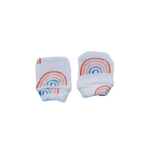 Organic Cotton Mittens - White Rainbow