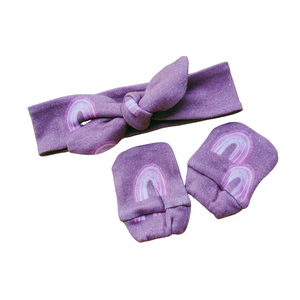 Organic Cotton Mitten & Headband Set - Purple Rainbow