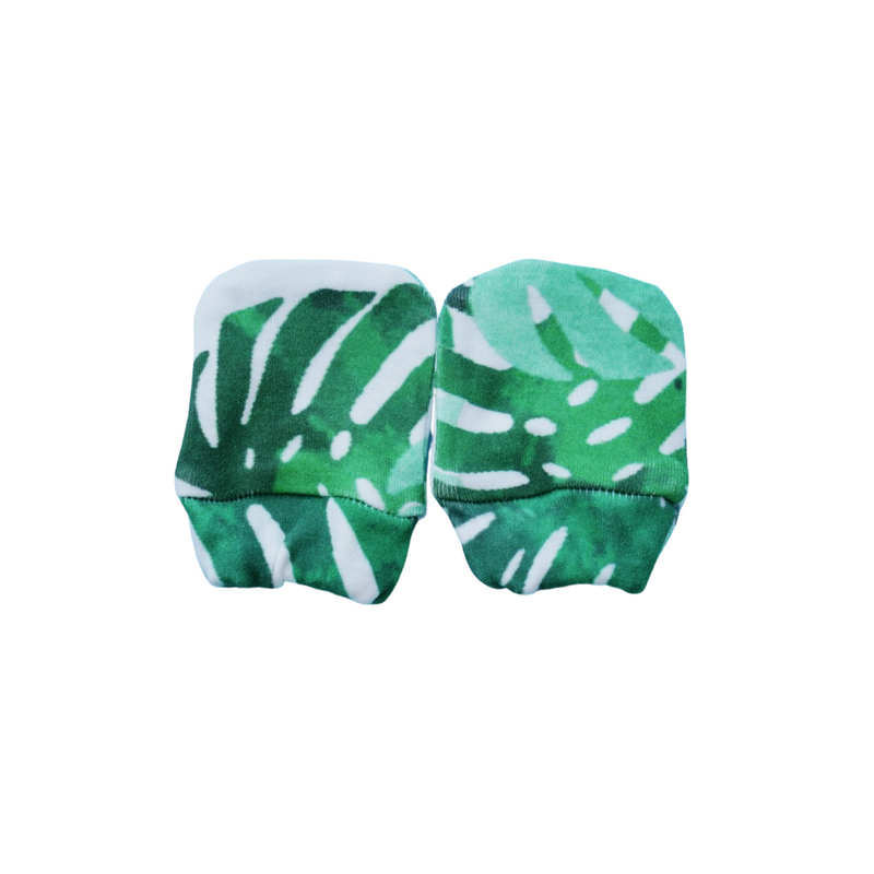Organic Cotton Mittens - Monstera