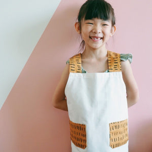 Japanese Cross Kids Aprons - Orange Stripe