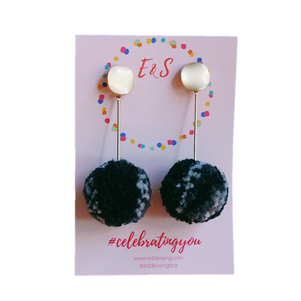 New! E&S Pom Pom Earrings - Black Oasis