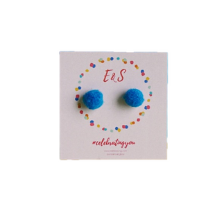 E&S Pom Pom Stud Earrings - Blue