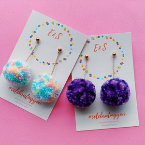 E&S Pom Pom Earrings - Shade of Purple