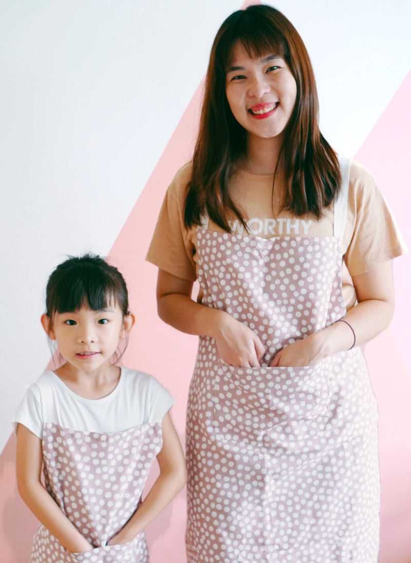 Pink Dots Cross Aprons for Her + Twinning Sets