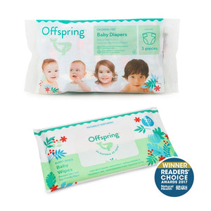 Offspring Natural Fashion Diapers Set + Wipes