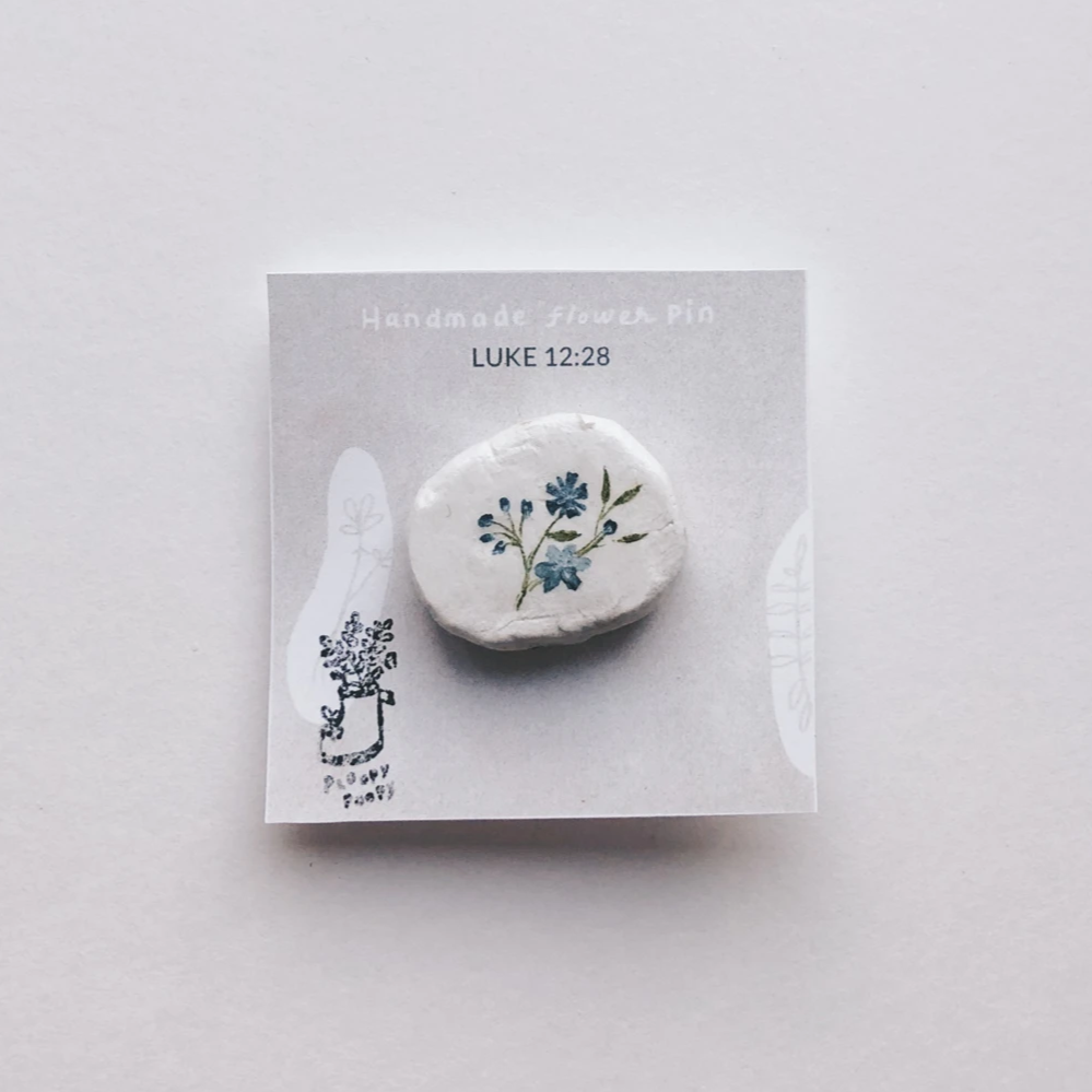 Flower - Luke 12:28 Clay Pin