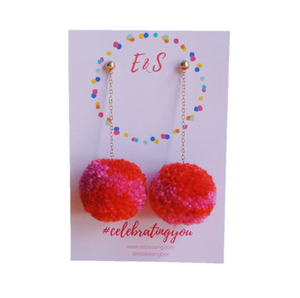 New! E&S Pom Pom Earrings - Island of Red