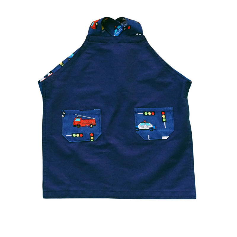 Japanese Cross Kids Apron - Emergency Vehicles