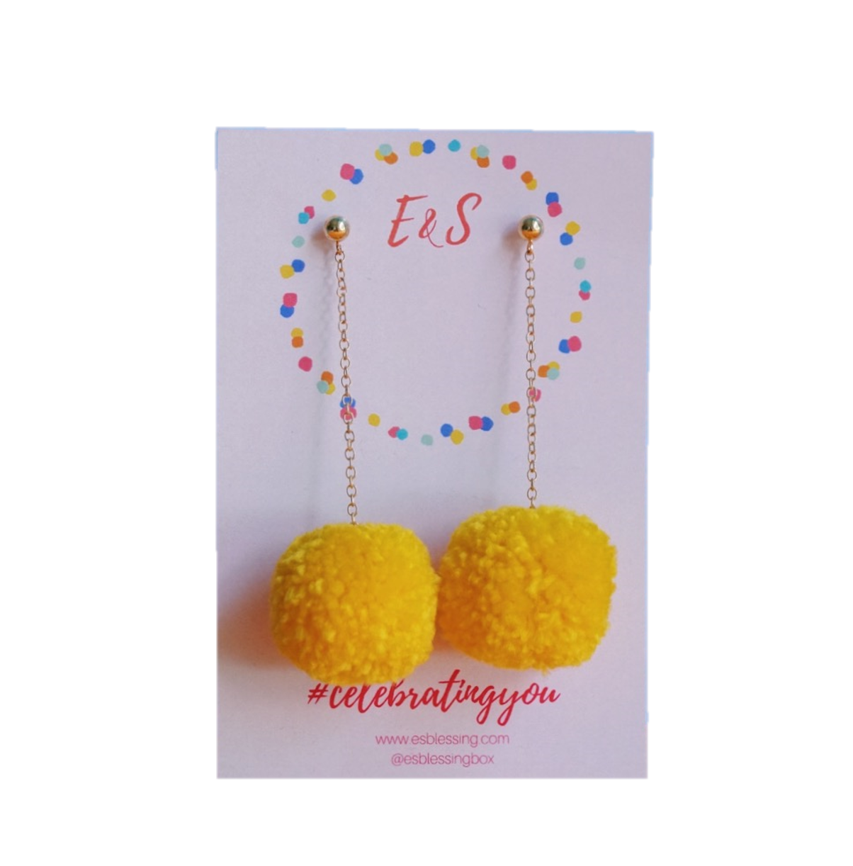 New! E&S Pom Pom Earrings - Marigold