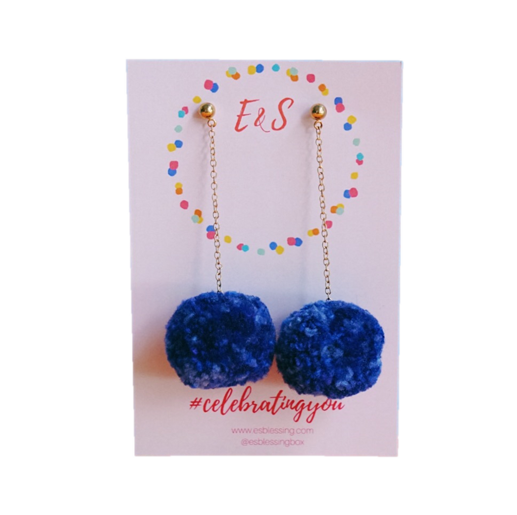 E&S Pom Pom Earrings - Ocean Blue