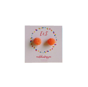New! E&S Pom Pom Stud Earrings - Orange