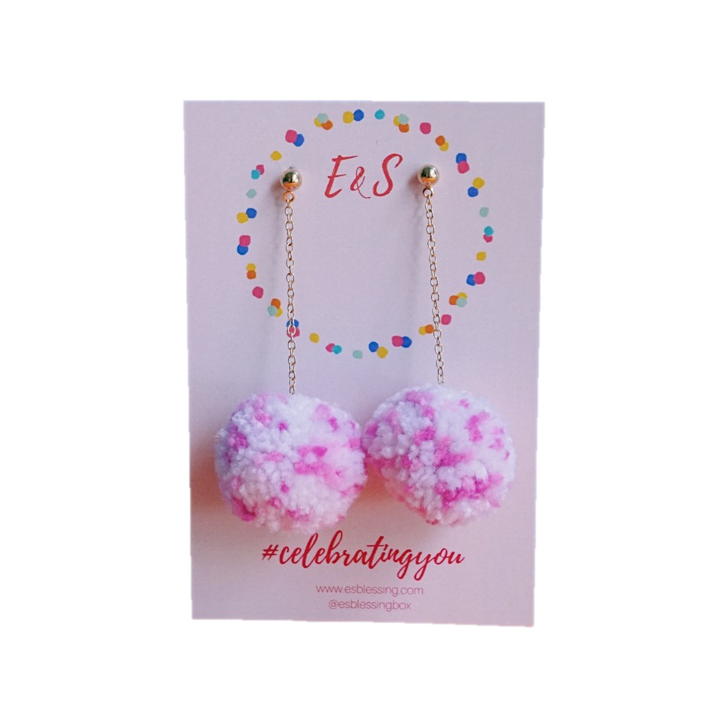 E&S Pom Pom Earrings - Pink & Blush
