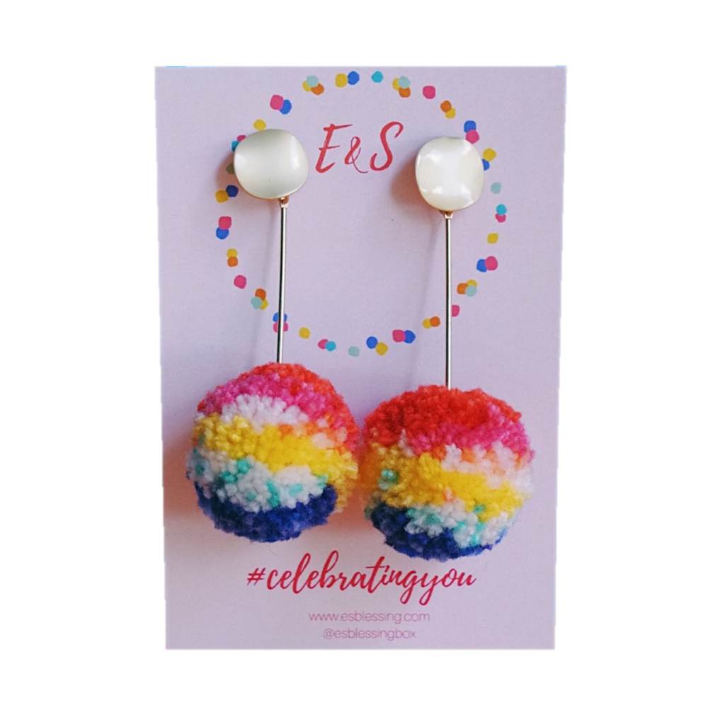 E&S Pom Pom Earrings - Rainbow Connection