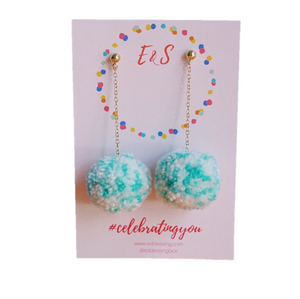 New! E&S Pom Pom Earrings - Sea Foam