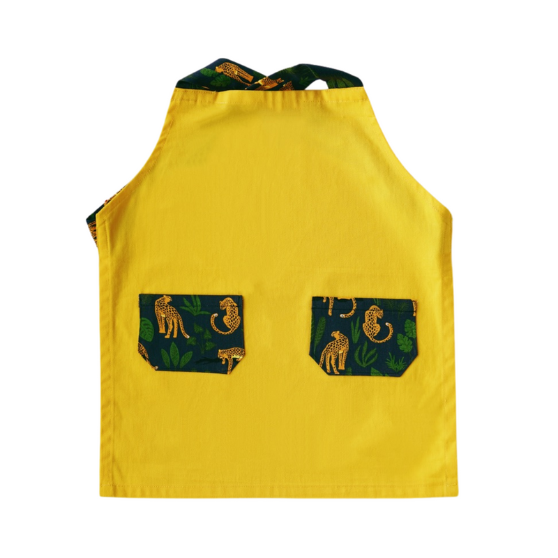 Japanese Cross Kids Apron - Jaguar in the Forest