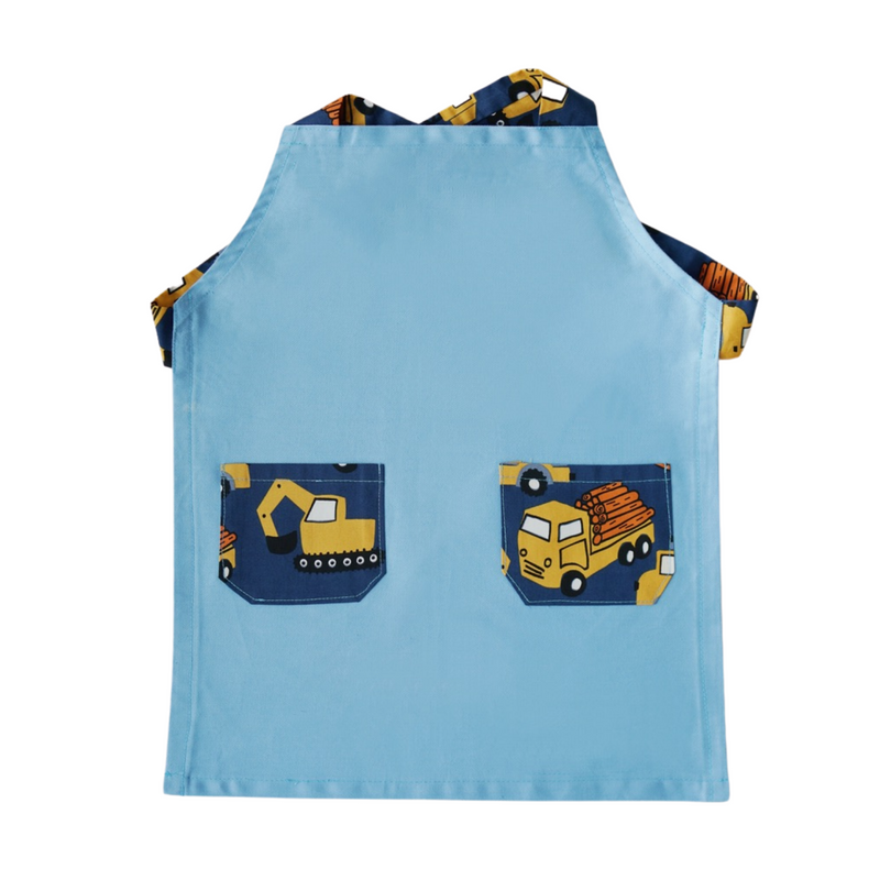 Japanese Cross Kids Apron - Trucks & Diggers