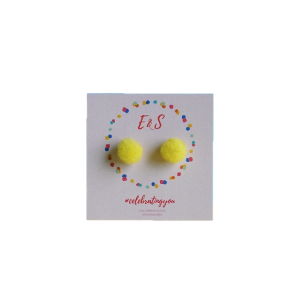E&S Pom Pom Stud Earrings - Yellow