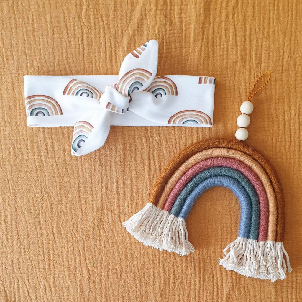 Organic Cotton Headbands - White Rainbow