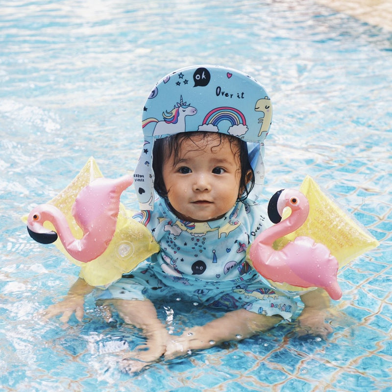 Unicorn Rainbow Swimsuit + Sun hat