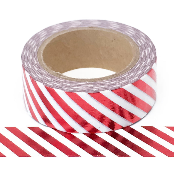 Washi Tape - Foil - Red Diagonal Stripe - Must Love Party