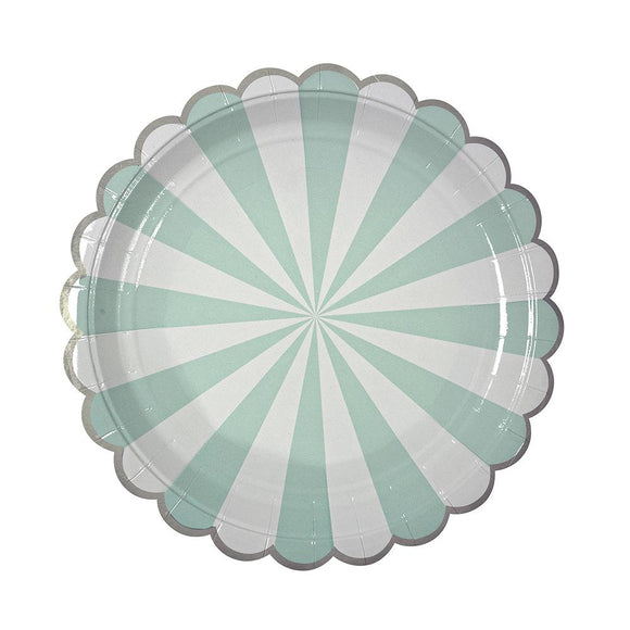 Aqua Fan Striped Plates (8) - Must Love Party