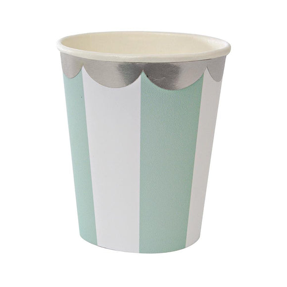 Aqua Fan Striped Cups (8) - Must Love Party