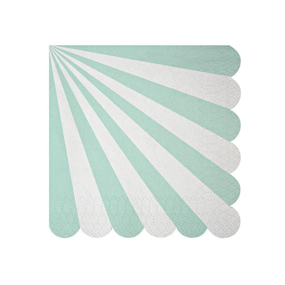 Aqua Fan Striped Napkins (20) - Must Love Party