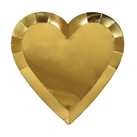 Gold Heart Plates (8) - Must Love Party
