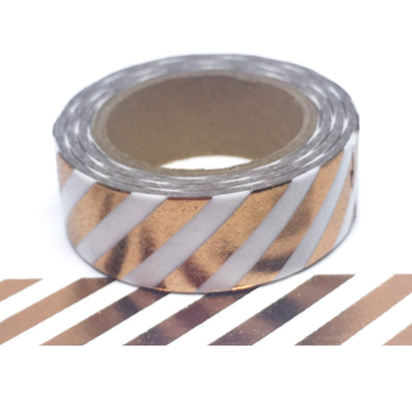 Washi Tape - Rose Gold Diagonal Stripe - Must Love Party