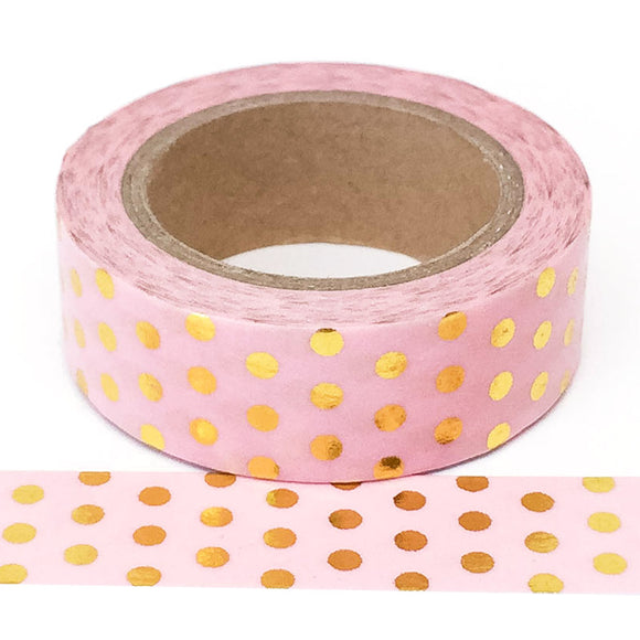 Washi Tape - Pink with Gold Polkadots - Must Love Party