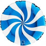 Candy Swirl Blue Foil Balloon