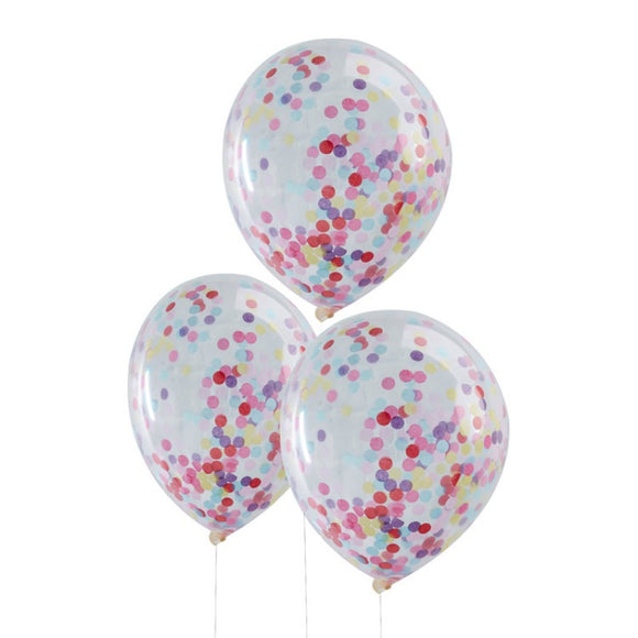 Multi Coloured Confetti Balloons (5) - Must Love Party